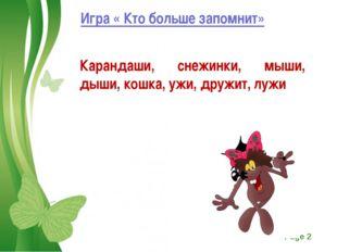 Игра « Кто больше запомнит» Карандаши, снежинки, мыши, дыши, кошка, ужи, друж