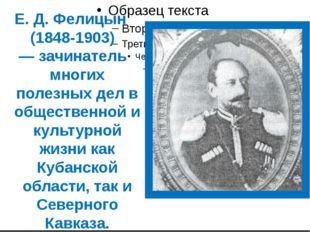 Е. Д. Фелицын (1848-1903) — зачинатель многих полезных дел в общественной и