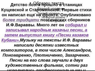 Детство поэта прошло в станицах Кущевской и Староминской. Первые стихи он на