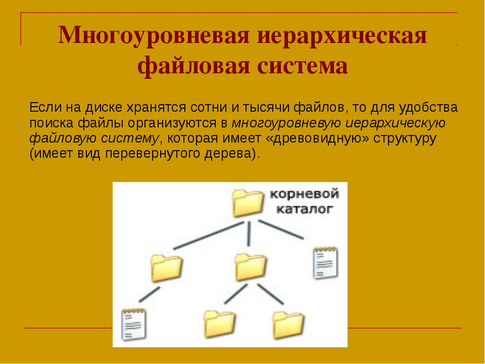 Многоуровневая иерархическая файловая система Если на диске хранятся сотни и...