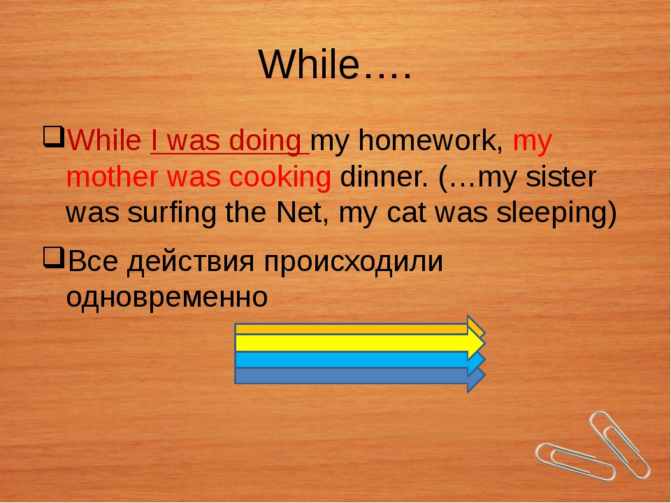 While…. While I was doing my homework, my mother was cooking dinner. (…my sis...