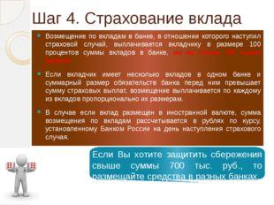 Шаг 4. Страхование вклада Возмещение по вкладам в банке, в отношении которого