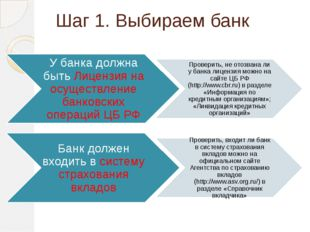 Шаг 1. Выбираем банк