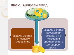 Шаг 2. Выбираем вклад Вклад