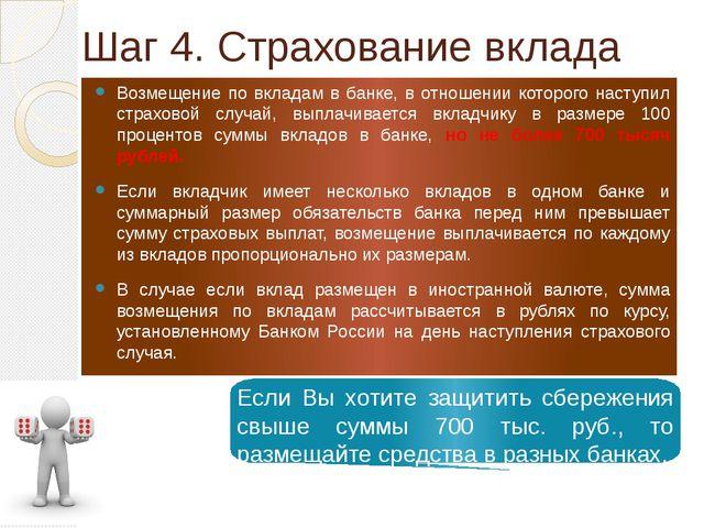 Шаг 4. Страхование вклада Возмещение по вкладам в банке, в отношении которого...
