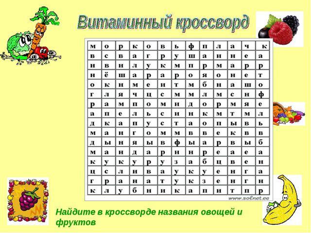 Найдите в кроссворде названия овощей и фруктов