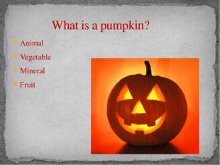 What is a pumpkin? Animal Vegetable Mineral Fruit Vegetable
