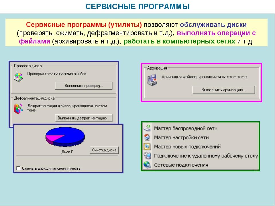 СЕРВИСНЫЕ ПРОГРАММЫ Сервисные программы (утилиты) позволяют обслуживать диски...