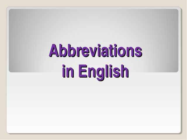 Abbreviations in English