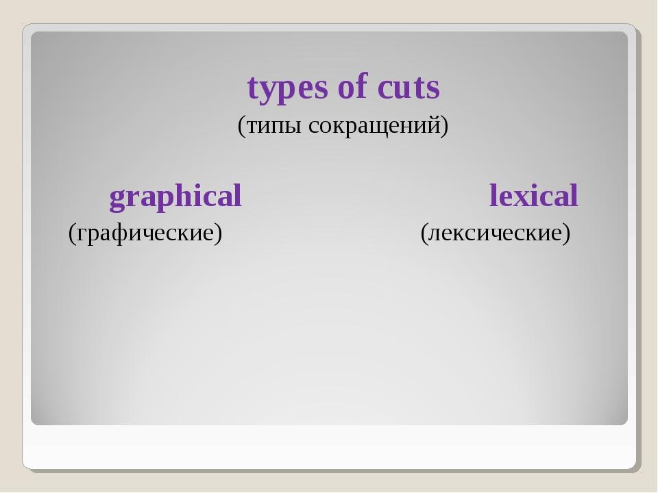 types of cuts (типы сокращений) graphical lexical (графические) (лексические)