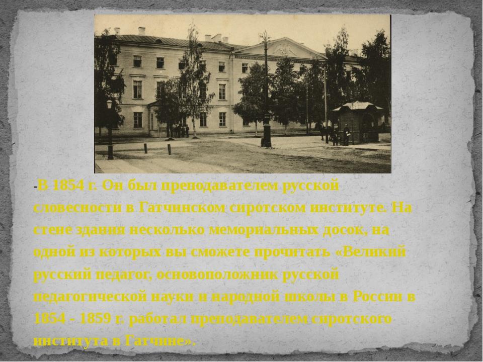 -В 1854 г. Он был преподавателем русской словесности в Гатчинском сиротском...