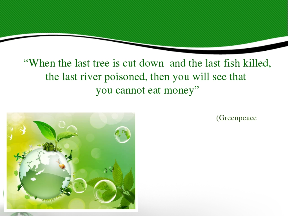 """When the last tree is cut down and the last fish killed, the last river pois..."
