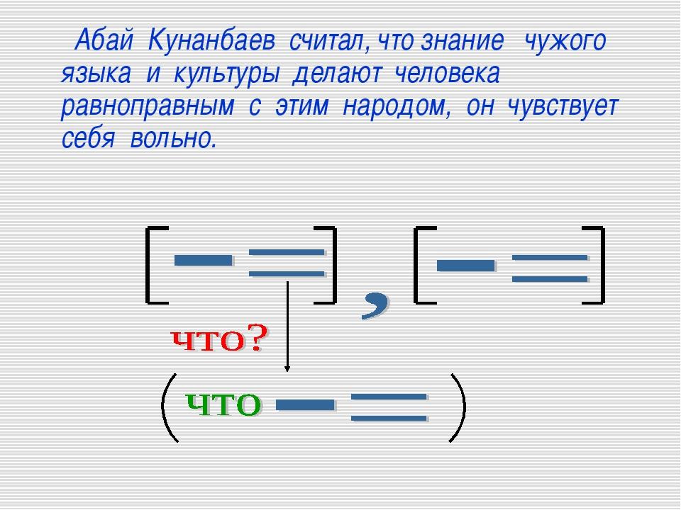 Абай Кунанбаев считал, что знание чужого языка и культуры делают человека ра...