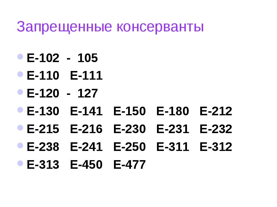 Запрещенные консерванты Е-102 - 105 Е-110 Е-111 Е-120 - 127 Е-130 Е-141 Е-150...