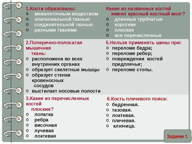 Задание 1. 1.Кости образованы: межклеточным веществом эпителиальной ткань...