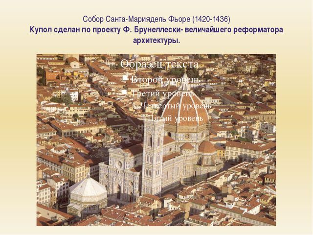 Собор Санта-Мариядель Фьоре (1420-1436) Купол сделан по проекту Ф. Брунеллеск...