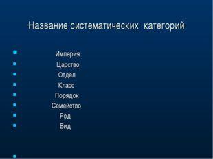 Название систематических категорий Империя Царство Отдел Класс Порядок Семейс