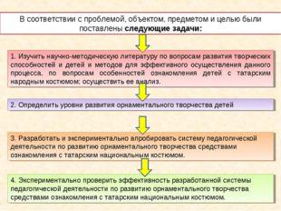 В соответствии с проблемой, объектом, предметом и целью были поставлены следу
