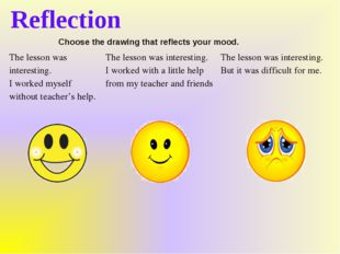 Reflection Choose the drawing that reflects your mood. The lesson was interes