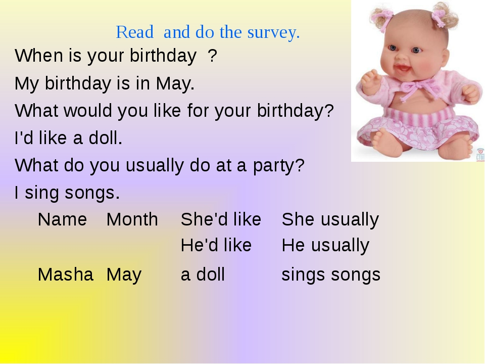 Read and do the survey. When is your birthday ? My birthday is in May. What w...