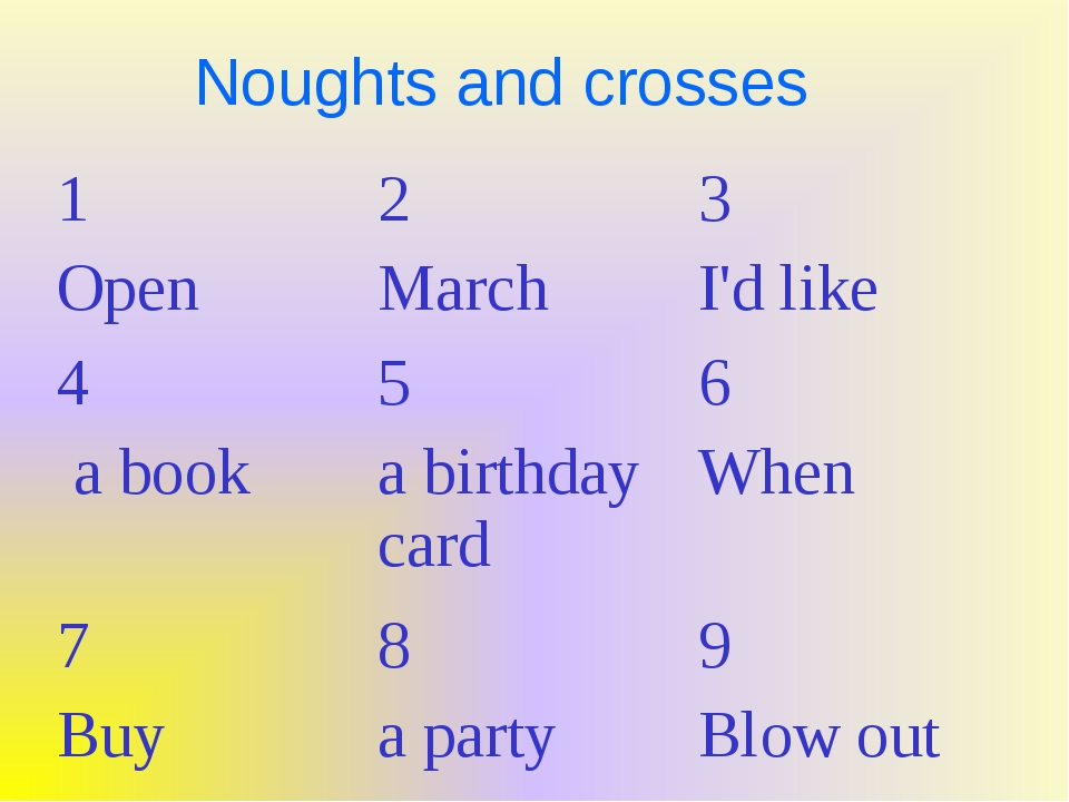 Noughts and crosses 1 Open2 March3 I'd like 4 a book5 a birthday card6 Wh...