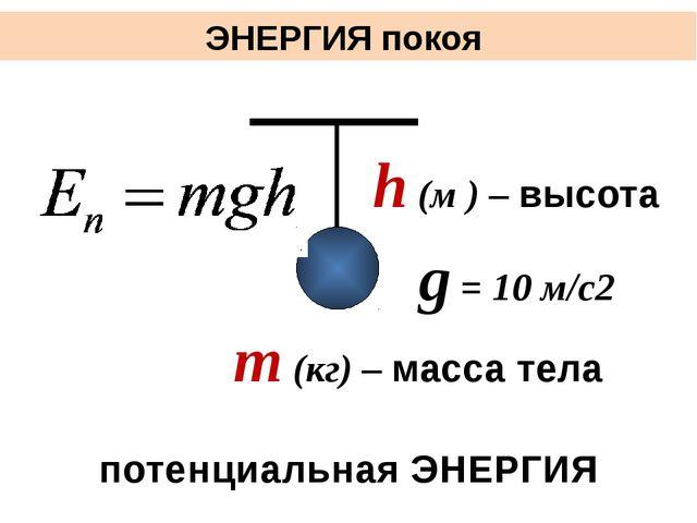 ЭНЕРГИЯ покоя потенциальная ЭНЕРГИЯ m (кг) – масса тела h (м ) – высота g =...