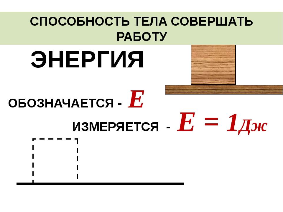СПОСОБНОСТЬ ТЕЛА СОВЕРШАТЬ РАБОТУ ЭНЕРГИЯ ИЗМЕРЯЕТСЯ - Е = 1Дж ОБОЗНАЧАЕТСЯ...