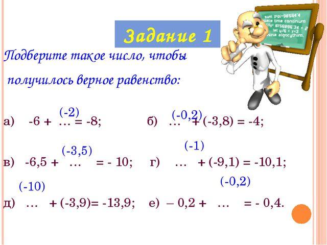 Подберите такое число, чтобы получилось верное равенство: а) -6 + … = -8; б)...