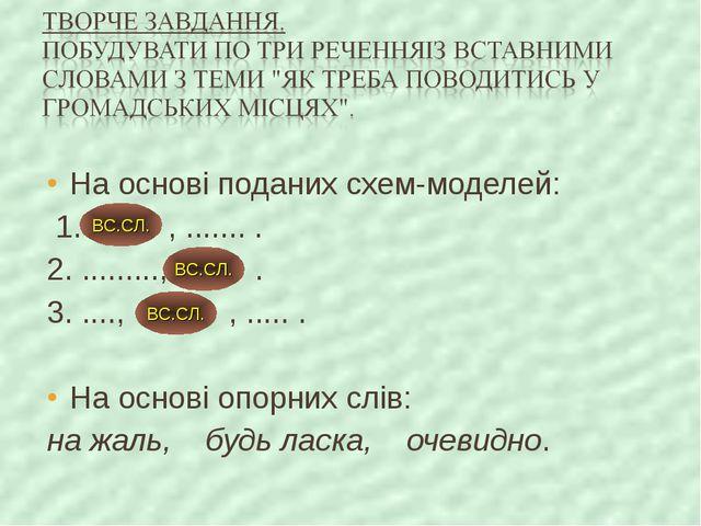 На основі поданих схем-моделей: 1. , ....... . 2. ........., . 3. ...., , ......
