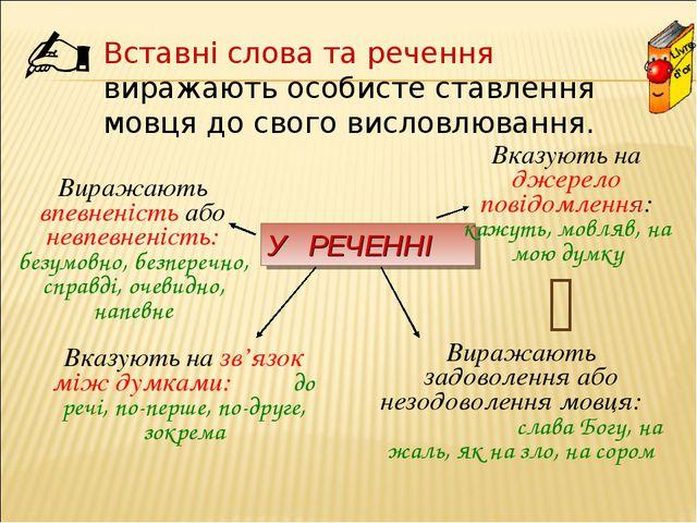   Вставні слова та речення виражають особисте ставлення мовця до свого висл...