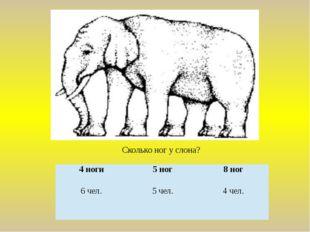 Сколько ног у слона? 4 ноги 5 ног 8 ног 6 чел. 5 чел. 4 чел.