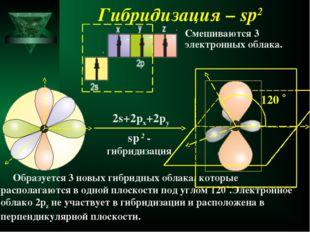 Гибридизация – sp2 sp 2 - гибридизация 2s+2px+2py Образуется 3 новых гибридны