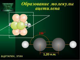 Образование молекулы ацетилена 180 ˚ 1,20 н.м. ацетилен, этин