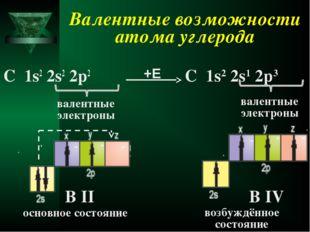 Валентные возможности атома углерода С 1s2 2s2 2p2 валентные электроны В II С