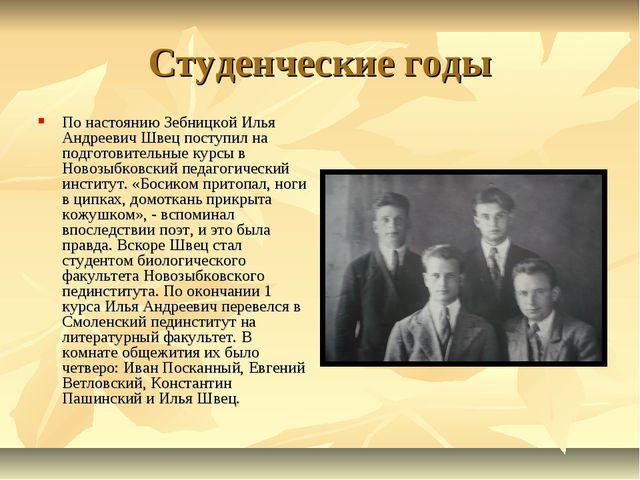 Студенческие годы По настоянию Зебницкой Илья Андреевич Швец поступил на подг...