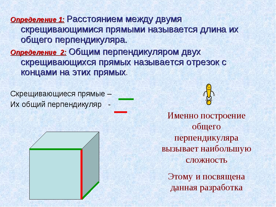 Определение 1: Расстоянием между двумя скрещивающимися прямыми называется дли...