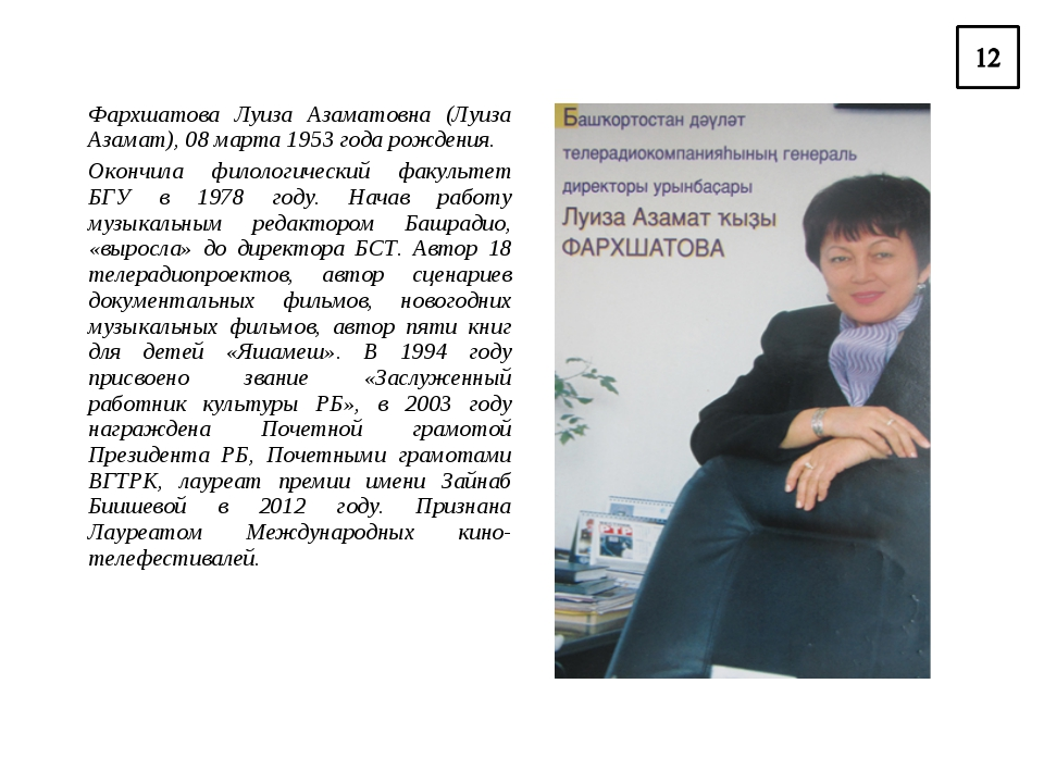 Фархшатова Луиза Азаматовна (Луиза Азамат), 08 марта 1953 года рождения. Окон...