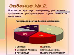 Используя круговую диаграмму, расскажите о процентном распределение суши Земл