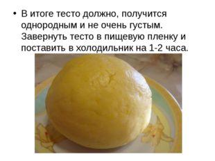 В итоге тесто должно, получится однородным и не очень густым. Завернуть тест