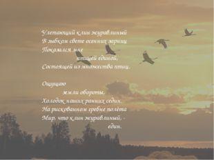Улетающий клин журавлиный В зыбком свете осенних зарниц Показался мне птицей