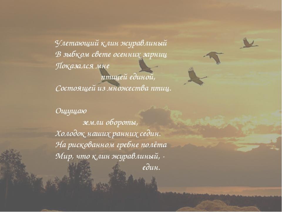 Улетающий клин журавлиный В зыбком свете осенних зарниц Показался мне птицей...