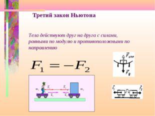 Третий закон Ньютона Тела действуют друг на друга с силами, равными по модулю