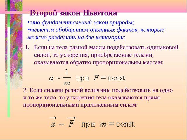 Второй закон Ньютона это фундаментальный закон природы; является обобщением о...