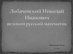 Матюшин Илья 5 «А»