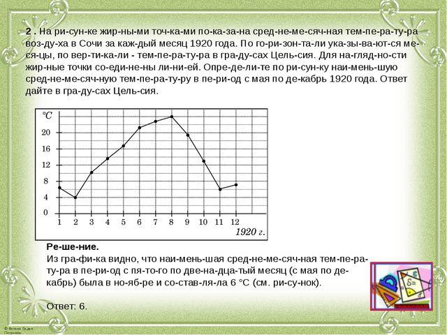 2. На рисунке жирными точками показана среднемесячная темпер...