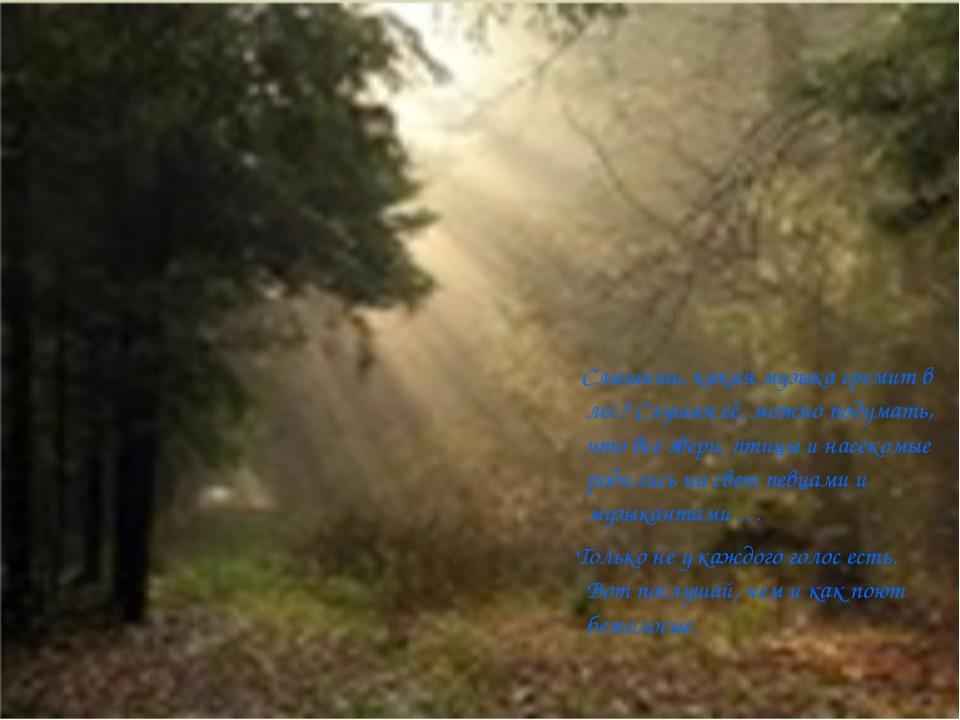 Слышишь, какая музыка гремит в лес? Слушая её, можно подумать, что все звери...