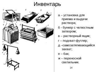 Инвентарь а – установка для приема и выдачи раствора; б - бункер с челюстным