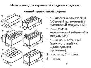 Материалы для кирпичной кладки и кладки из камней правильной формы а—кирпич к