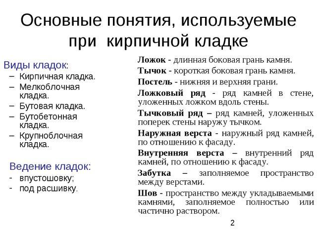 Основные понятия, используемые при кирпичной кладке Виды кладок: Кирпичная кл...
