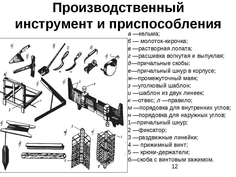 Производственный инструмент и приспособления а —кельма; 6 — молоток-кирочка;...